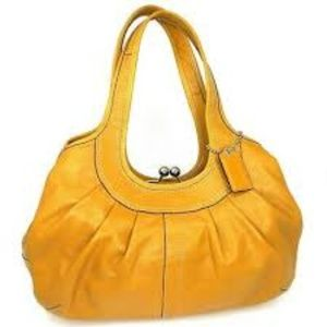 Coach Ergo Pleated Kiss Lock Shoulder Bag Mustard